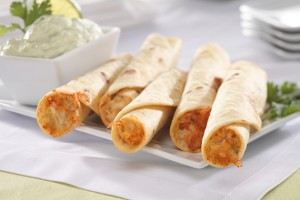 Chicken and Cheese Flautas with Avocado Dip Recipe
