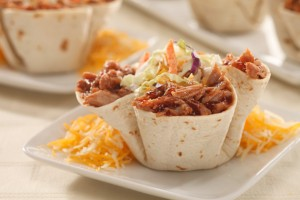 Barbeque Pork Tortilla Cups Recipe