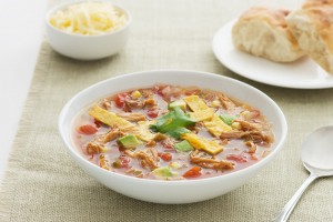 Fajita Chicken Soup with Crispy Tortilla Chips Recipe