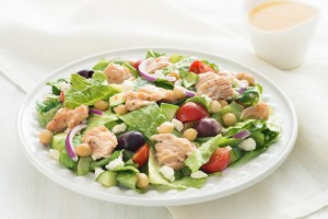 Lemon Pepper Chicken Greek Salad with Chickpeas Recipe