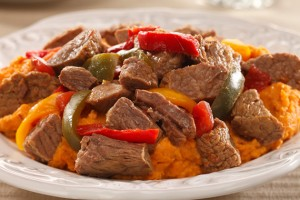 Mexican Beef Stew over Chipotle Sweet Potato Mashers Recipe