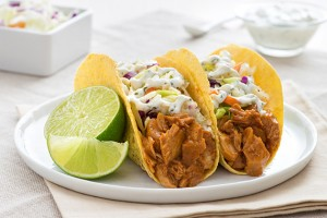 Chipotle Chicken Tacos with Cabbage Slaw & Lime Crema Recipe