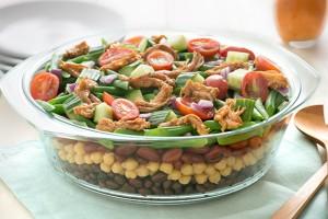 Layered Fajita Chicken Four-Bean Salad Recipe