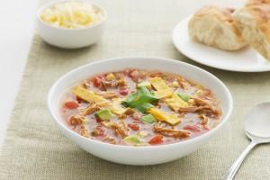 Fajita Chicken Soup with Crispy Tortilla Chips Recipe